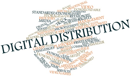 downloadable: Abstract word cloud for Digital distribution with related tags and terms