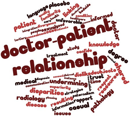 Abstract word cloud for Doctor-patient relationship with related tags and terms photo