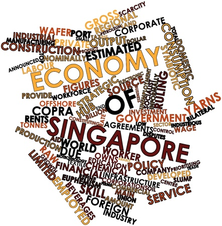 constituting: Abstract word cloud for Economy of Singapore with related tags and terms
