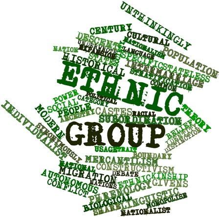 industrialised: Abstract word cloud for Ethnic group with related tags and terms