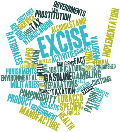 reparations: Abstract word cloud for Excise with related tags and terms