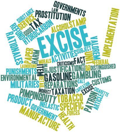 excise: Word cloud astratto per accise con tag correlati e termini Archivio Fotografico