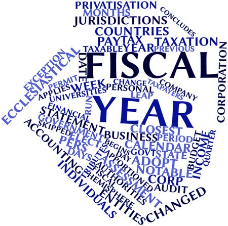 retained: Nube palabra abstracta para el año fiscal con las etiquetas y términos relacionados Foto de archivo