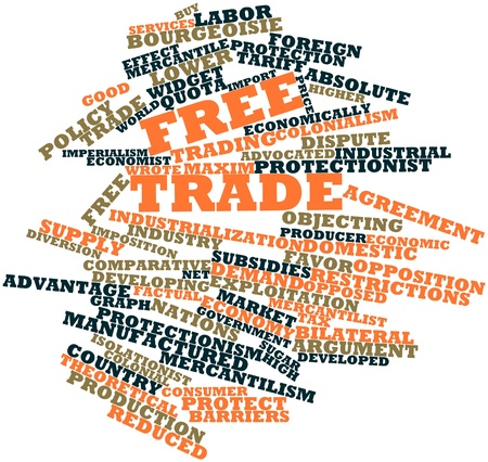 protectionism: Abstract word cloud for Free trade with related tags and terms
