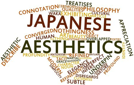 potentiality: Abstract word cloud for Japanese aesthetics with related tags and terms