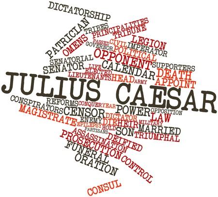 incursion: Nuage de mot abstrait de Jules C�sar avec des �tiquettes et des termes connexes Banque d'images