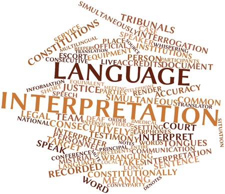 interpretation: Abstract word cloud for Language interpretation with related tags and terms