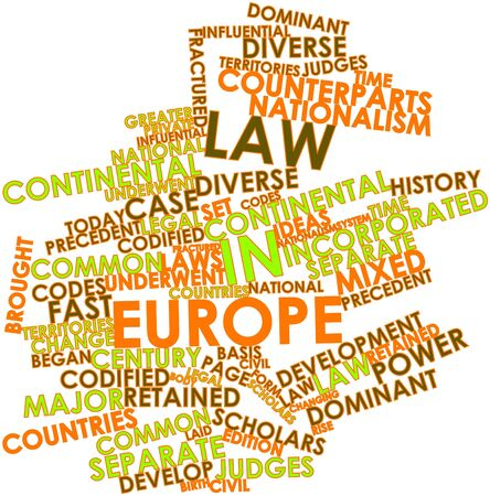 retained: Nube de la palabra abstracta de Derecho en Europa con las etiquetas y términos relacionados Foto de archivo