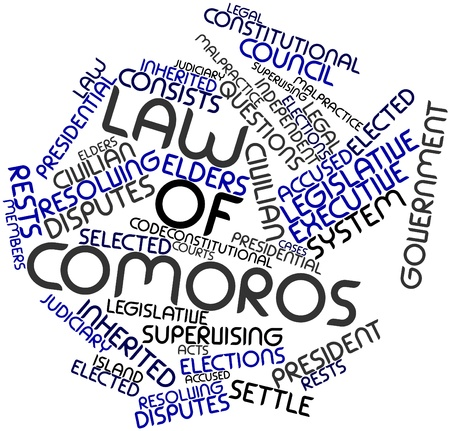 resolving: Abstract word cloud for Law of Comoros with related tags and terms Stock Photo