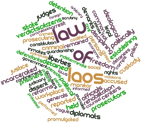 promulgated: Abstract word cloud for Law of Laos with related tags and terms Stock Photo