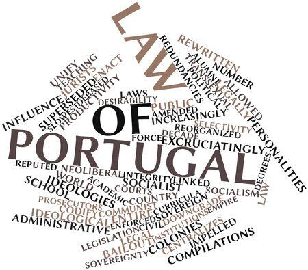 increasingly: Word cloud astratto per legge del Portogallo con tag correlati e termini Archivio Fotografico
