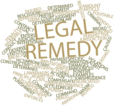 deemed: Abstract word cloud for Legal remedy with related tags and terms
