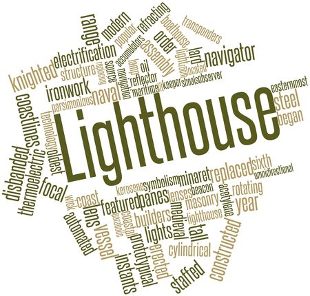 refracting: Abstract word cloud for Lighthouse with related tags and terms Stock Photo