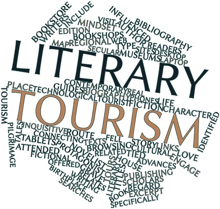 literary: Abstract word cloud for Literary tourism with related tags and terms Stock Photo