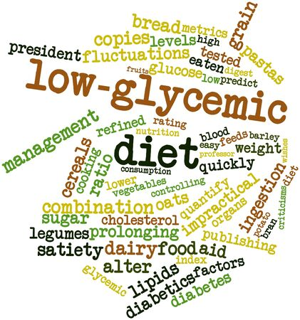 ingestion: Abstract word cloud for Low-glycemic diet with related tags and terms Stock Photo