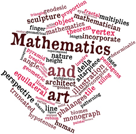 distal: Abstract word cloud for Mathematics and art with related tags and terms Stock Photo