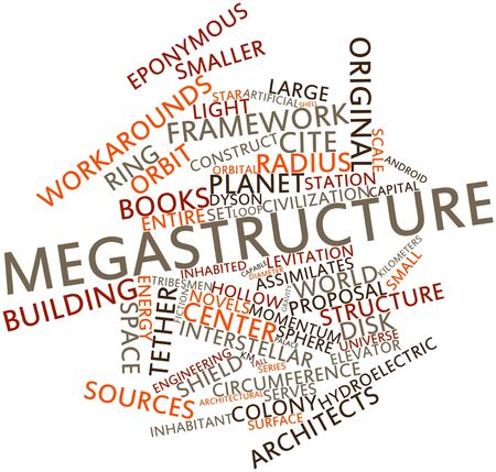 wavelengths: Abstract word cloud for Megastructure with related tags and terms Stock Photo