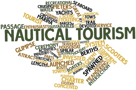 conceived: Abstract word cloud for Nautical tourism with related tags and terms
