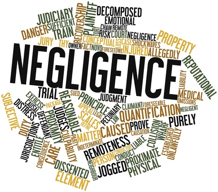 causation: Abstract word cloud for Negligence with related tags and terms Stock Photo