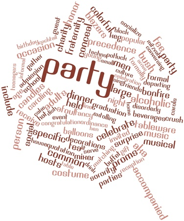potluck: Abstract word cloud for Party with related tags and terms Stock Photo