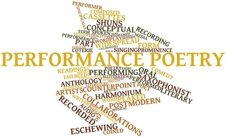 inteligible: Nube palabra abstracta para la poesía rendimiento con etiquetas y términos relacionados