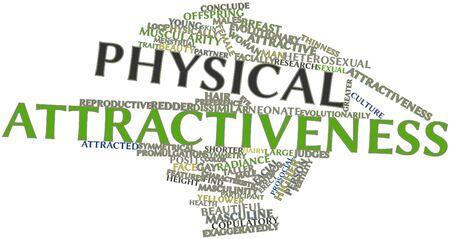 attractiveness: Nube palabra abstracta para el atractivo f�sico con etiquetas y t�rminos relacionados