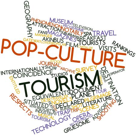 equivalents: Abstract word cloud for Pop-culture tourism with related tags and terms