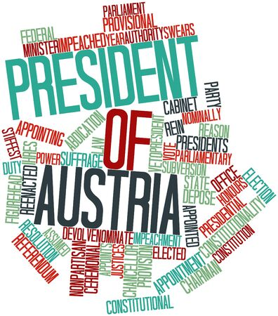 justices: Abstract word cloud for President of Austria with related tags and terms