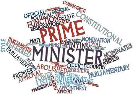 directives: Abstract word cloud for Prime minister with related tags and terms