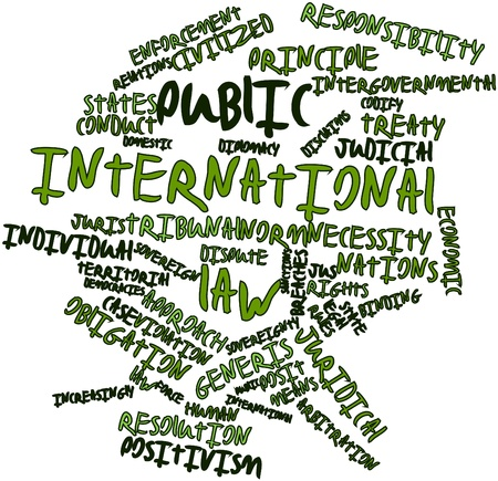Abstract word cloud for Public international law with related tags and terms photo