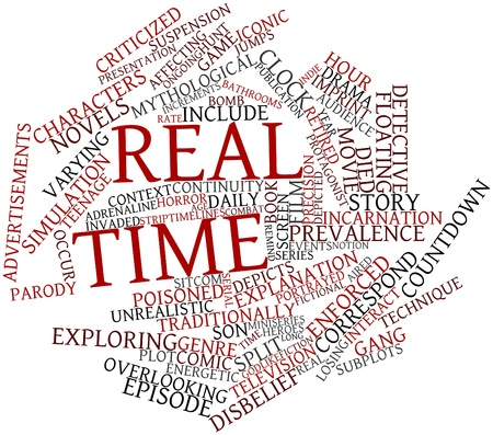 timelines: Abstract word cloud for Real time with related tags and terms Stock Photo