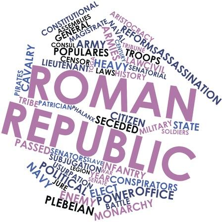 derecho romano: Nube palabra abstracta para la República Romana con las etiquetas y términos relacionados Foto de archivo