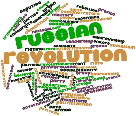 rioting: Abstract word cloud for Russian Revolution with related tags and terms Stock Photo