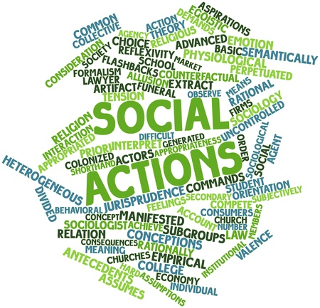 social actions: Abstract word cloud for Social actions with related tags and terms Stock Photo