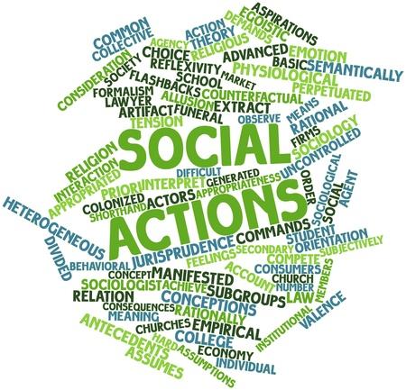 sociologia: Nube palabra abstracta para acciones sociales con las etiquetas y términos relacionados