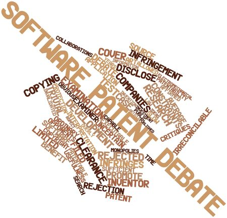 Abstract word cloud for Software patent debate with related tags and terms photo