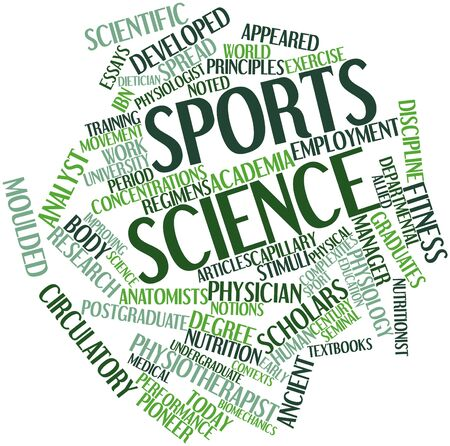 biomechanics: Abstract word cloud for Sports science with related tags and terms Stock Photo