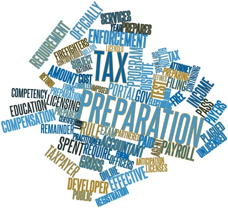 complication: Abstract word cloud for Tax preparation with related tags and terms Stock Photo