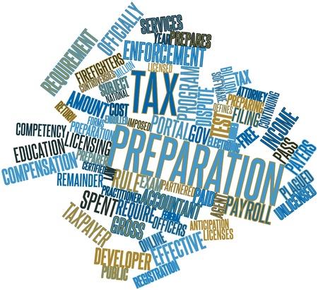 renta: Nube palabra abstracta para preparaci�n de impuestos con las etiquetas y t�rminos relacionados