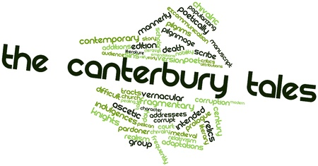 preceded: Abstract word cloud for The Canterbury Tales with related tags and terms Stock Photo