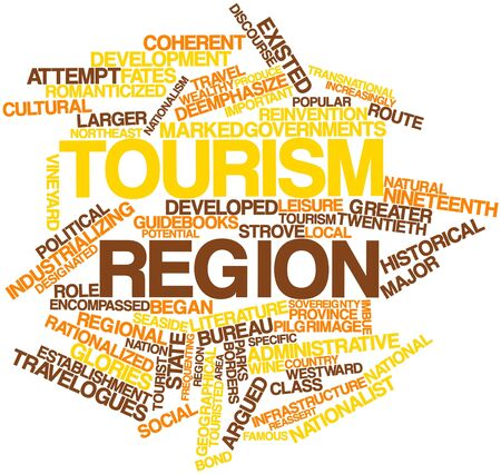 Abstract word cloud for Tourism region with related tags and terms Stock Photo - 16888918