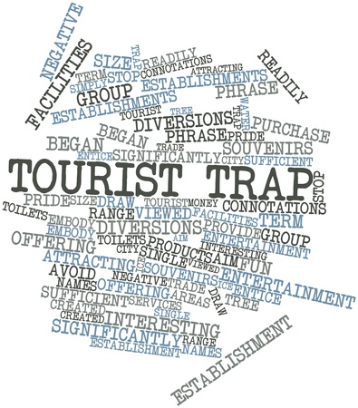 embody: Abstract word cloud for Tourist trap with related tags and terms Stock Photo