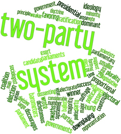 weaker: Abstract word cloud for Two-party system with related tags and terms