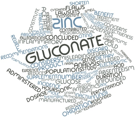 Abstract word cloud for Zinc gluconate with related tags and terms
