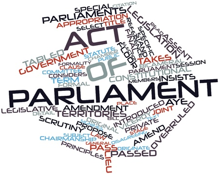 originate: Abstract word cloud for Act of Parliament with related tags and terms