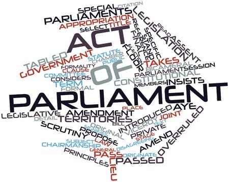 parliaments: Word cloud astratto per legge del Parlamento con le modifiche e termini correlati Archivio Fotografico
