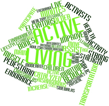 emerged: Abstract word cloud for Active living with related tags and terms Stock Photo
