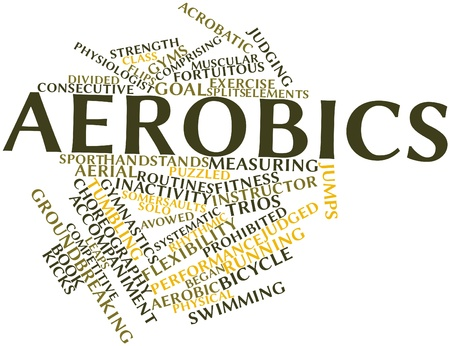 physical therapist: Abstract word cloud for Aerobics with related tags and terms Stock Photo