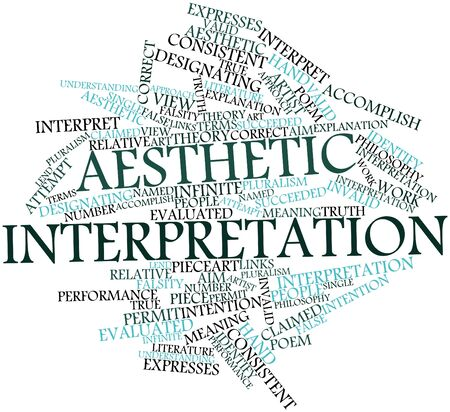 Abstract word cloud for Aesthetic interpretation with related tags and terms Stock Photo - 16983203