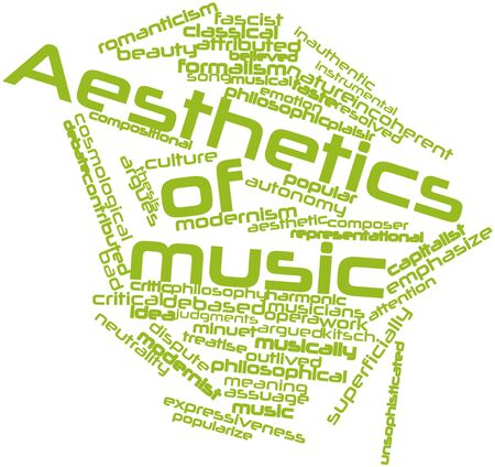 confrontational: Abstract word cloud for Aesthetics of music with related tags and terms Stock Photo
